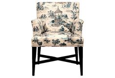Avenue Armchair, Blue/Cream ~~  Running brooks quietly weave their way through the dreamy landscape while gentle ferns sway softly in the wind. While this chair's silhouette may be simple, its illustrated fabric is anything but.    Every piece of furniture in acclaimed designer Barclay Butera's collection is handmade, hand-upholstered, and hand-finished in the U.S. by craftspeople trained in the Butera technique.