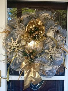 Silver and Gold Christmas Mesh Wreath by WreathsEtc on Etsy, $159.00