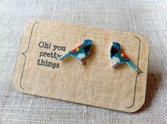 Blue bird stud earring posts on Etsy, $5.23