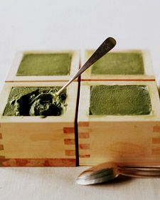 "Cool sake is traditionally served in these cedar boxes, but you can also use the boxes as ""bowls"" for green tea ice cream."