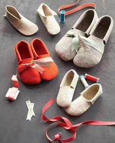 DIY Felt Slippers - cute and easy gift