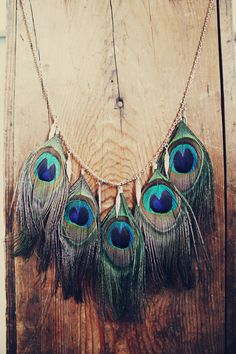 Peacock Feather Necklace with Metal Feather Charms by Cloud9Jewels, $35.00