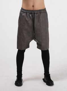 Drop Crotch Meggings Layered Leather Shorts set Pants $54.00 #Fashion #Style…