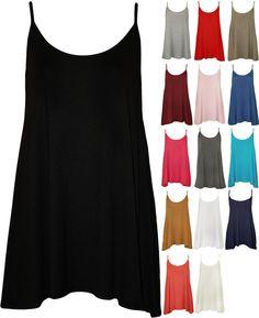 New Plus Size Womens Plain Strappy Sleeveless Ladies Swing Cami Vest Top 16 - 22