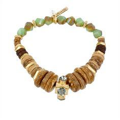 Kenneth Cole New York Faceted and Disc Bead Stretch Bracelet   from Von Maur #VonMaur #StyleCorner #Green #Gold #Boho