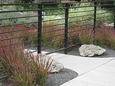modern metal fence with horizontal lines