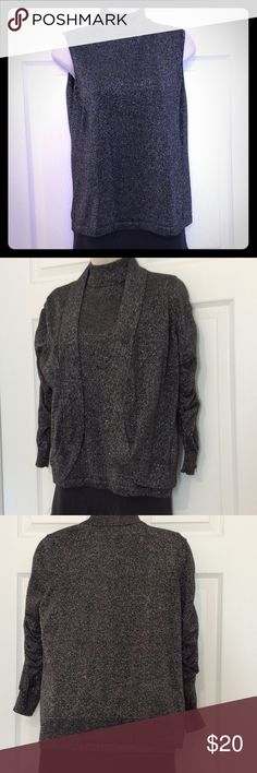 GLAMOROUS Black & Silver Sleeveless Top & Cover PL Shimmering Black & Silver Turtleneck & Matching Cover EUC!  Stretchy Top is Petite Medium/Cover with 3/4 to Full Sleeves is Petite Large 57% Cotton, 25% Rayon, 18% Metallic, Tag: Hand Wash Only PETER NYGARD Tops Tees - Short Sleeve