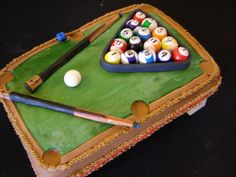 Unique Pool Table Cake by darcyscakes