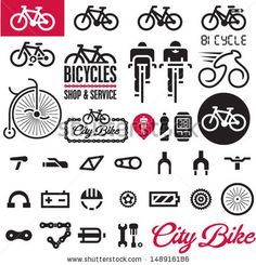 Bicycles. Isolated vector bike accessories set. by etraveler, via Shutterstock