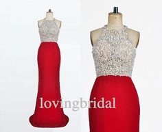 2014 Long Red Chiffon Beaded Prom Dress Bridesmaid by lovingbridal, $188.00