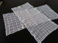 2 Vintage Runners White Hand Crochet Lace 92a