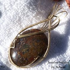 Wire Wrapped Pendant  Beautiful Varigated Moss by JewelryArtistry, $55.00