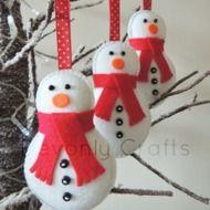 x3 Christmas Snowman Felt Decorations