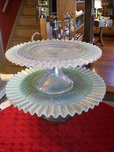 White Ruffled Opalescent Hobnail pedestal Cake Plate Fenton Glass -- Gorgeous   eBay