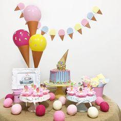 olivias first birthday Birthday Table Decorations, 2nd Birthday Party Themes, Birthday Balloons, Ice Cream Theme, Ice Cream Party, Doughnut Wedding Cake, Cinderella Birthday, Baby Party, Trends