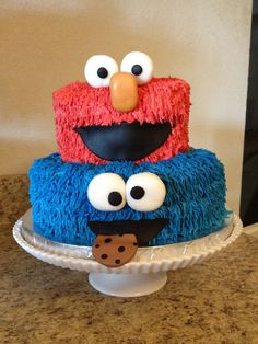 Elmo and Cookie Monster birthday cake
