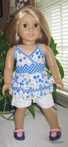 Floral Top & Denim Shorts & Ducs Doll Clothes Made for 18 Inch American Girl