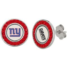 New York Giants Crystal Team Logo Stud Earrings (4.445 RUB) ❤ liked on Polyvore featuring jewelry, earrings, red, crystal stone jewelry, earring jewelry, crystal jewellery, crystal stud earrings and crystal jewelry