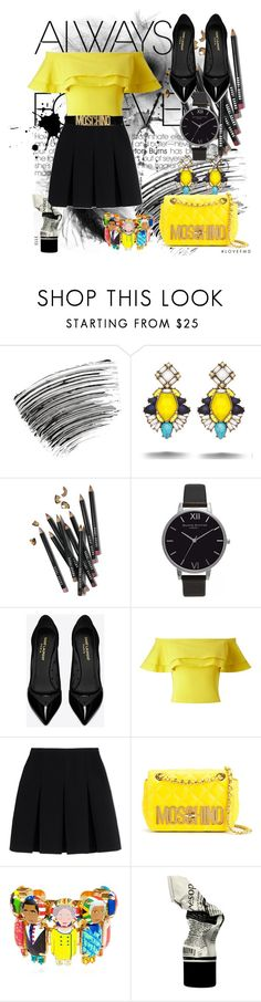 """""""Moschino belt"""" by chicbluemarty ❤ liked on Polyvore featuring Bobbi Brown Cosmetics, Chloe + Isabel, Olivia Burton, Yves Saint Laurent, Miss Selfridge, Alexander Wang, Moschino and Bijoux de Famille"""