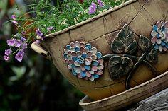 květináč-hortenzie-na objednávku!!! / Zboží prodejce lavender   Fler.cz Horn, Cuff Bracelets, Planter Pots, Succulents, Jewelry, Cement, Horns, Jewlery, Jewels
