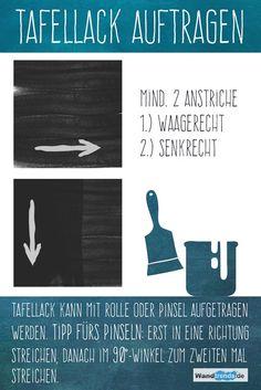 Tipps zu Tafellack und Tafelfarbe: Tafellack mit Pinsel auftragen - für eine deckende Fläche erst waagerecht, dann senkrecht