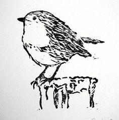 bird+lino+blocks | Linocut Robin Print. Bird Print Art. Lino Block Print. Linoleum Print.