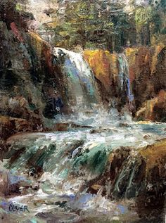 Art Talk - Julie Ford Oliver: Yellowstone  - Waterfall Near Sylvan Pass.