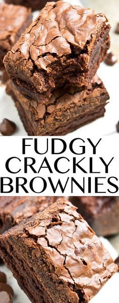 Cajun Delicacies Is A Lot More Than Just Yet Another Food Fudgy Brownies With Crackly, Crispy Tops-Easy Homemade Fudgy Brownie From Scratch Recipe, Made With Simple Ingredients. 13 Desserts, Chocolate Desserts, Dessert Recipes, Brownie Desserts, Healthy Desserts, Baking Desserts, Chocolate Cupcakes, Mint Chocolate, Chocolate Chips