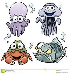 Море мультфильм животных — стоковая иллюстрация   Книжка ...