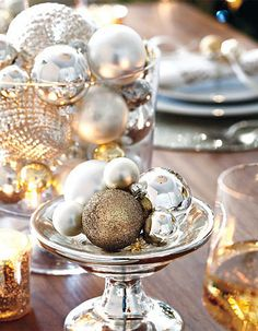 Use left over holiday ornaments as an impactful centerpiece.  You can even let guests pick one to bring home.