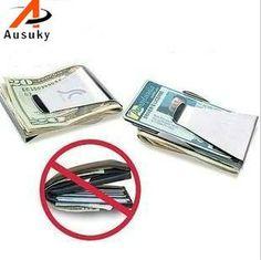 [Visit to Buy] New Ausuky Brand Multifunction Men/Women Stainless Steel Money Clip Slim Pocket Purse Cash Holder Clip Money Card money clip 40 #Advertisement