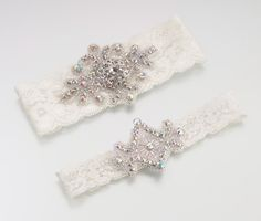 Jeweled Garter Set -Ivory Bridal Garters This beautiful set includes two jeweled ivory lace garters. There is a wide (keepsake) and small (tossing) garter, Ivory Bridal Garter, Bride Garter, Wedding Garter Lace, Lace Garter, Lillian Rose, Garter Toss, Bridal Accessories, Jewels, Wedding Ideas