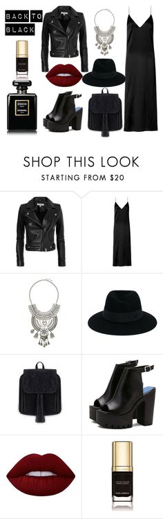 """Back to black"" by amrinjo on Polyvore featuring IRO, rag & bone, Topshop, Maison Michel, Lime Crime and Dolce&Gabbana"