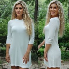 NWT White Ribbed Tunic Shirt Dress This super comfy dress is very in style and on trend. It runs true to size! Paperback Boutique Dresses