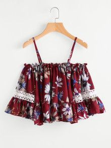 SheIn offers Open Shoulder Floral Print Random Flounce Hem Top & more to fit your fashionable needs. Cute Comfy Outfits, Classy Outfits, Trendy Outfits, Cool Outfits, Girls Fashion Clothes, Teen Fashion Outfits, Girl Fashion, Summer Outfits For Teens, Crop Top Outfits