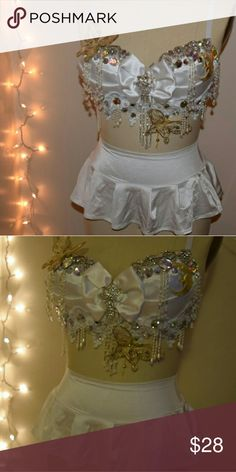 Gorgeous white rave/festival outfit never worn! white rave/festival/event outfit never worn before! both brand new in perfect condition. super comfortable! Bra is 36C and bottoms are one size, probably best fit small to medium. Intimates & Sleepwear Bras