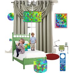 Multicolored Puzzle theme bedroom by mna-art on Polyvore featuring interior, interiors, interior design, thuis, home decor, interior decorating, Redford House, Insola, JoJo Maman Bébé and bedroom