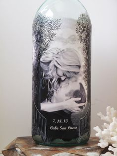 Family Unity Sand Ceremony Bottle With Your Photos Hand Painted Wine Personalized Destination Wedding Decor Gift