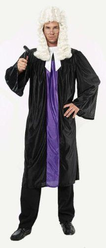 """Judge Robe & Collar Fancy Dress Costume - One Size by Parties Unwrapped Ltd. $23.99. Great judges gown and collar fancy dress costume. The one piece gown is made in a black shiny material with a purple insert on the front and a white attached collar. Due to the nature of this costume, one size fits all even up to 50"""" chest. *Please Note - Wig, glasses, gavel, trousers or shoes NOT included. See our other store items for our judges wig, glasses and gavel kit to complement..."""