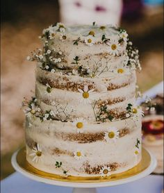Wedding Food 15 Rustic Wedding Cakes That Will Make You Want a Barn Wedding - Planning a rustic wedding? These adorable rustic wedding cakes would be perfect for a garden, barn, or even beachside wedding. Beautiful Cakes, Amazing Cakes, Bolos Naked Cake, Wedding Cake Rustic, Rustic Cake, Daisy Wedding Cakes, Daisy Cakes, Diy Wedding Deco, Rustic Birthday Cake