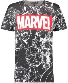 Branded T-Shirts Mens Black Marvel Team Sublimated Print T-shirt