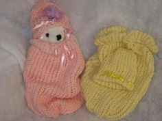"""Hat and """"pouch"""" for preemies, or...stillborns, dolls...."""