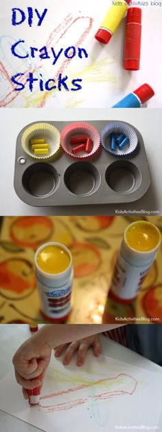 DIY Crayons: Crayon Activity {for Parents}. Recycle old bits of crayon by melting them & turning empty glue sticks into twistable crayons.