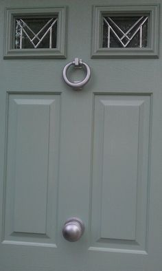 New Composite Door in heritage colour Chartwell green with satin chrome hardware. This is a Heritage colour revived by the National trust. It is a colour often seen on traditional cottages and houses in the beautiful Cotswold villages of England, U. Front Door Accessories, House Styles, Front Door Colors, Composite Door, House Front, Front Door, House Front Design, Doors, Painted Doors
