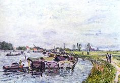 Alfred Sisley.  Frachtkähne bei Saint-Mammès. 1885, Öl auf Leinwand, 54,3 × 64,7 cm. Privatsammlung. Landschaftsmalerei. Frankreich. Impressionismus.  KO 02151