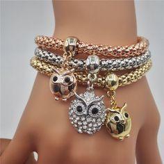 2016 New Fashion Owl Charm Bracelet For Women Luxury Rose Gold / Silver Crystal Bracelets & Bangles Lady Party Jewelry