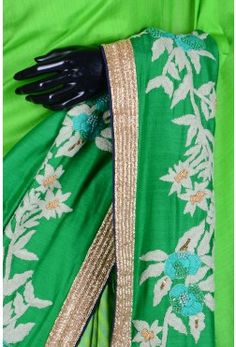 Pure Saree With Readymade Blouse-Leaf Green & Light Green-WH1123