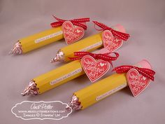 Stampin' Up! Treat Holders   by Andi Potler at Absolute Kreations: Teacher Pencil Valentine