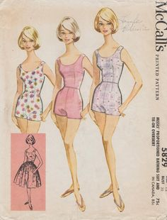 This vintage McCalls sewing pattern was designed in 1961. It makes a one piece swimsuit with a tie on overskirt. Size 12: Bust 32 --- Waist 25 --- Hip 34. It has been carefully used and is complete and unaltered. The instructions are included.  To see more vintage separates patterns: https://www.etsy.com/shop/studioGpatterns?section_id=6940897&ref=shopsection_leftnav_2  To visit my shop: https://www.etsy.com/shop/studioGpatterns?ref=hdr_shop_menu