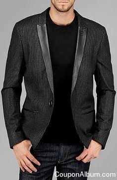 9b0f60205fd pinstripe jacket with leather trim Semi Casual